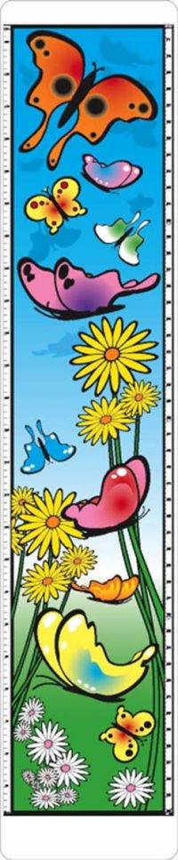 child growth chart with colorful butterfiles